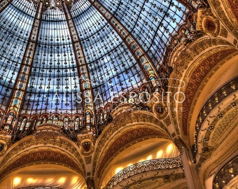 Paris, France, Stained Glass, French Travel Photography, 8x10, 11x14, 16x24, 20x30, Galeries Lafayette,Home Decor, Paris Print