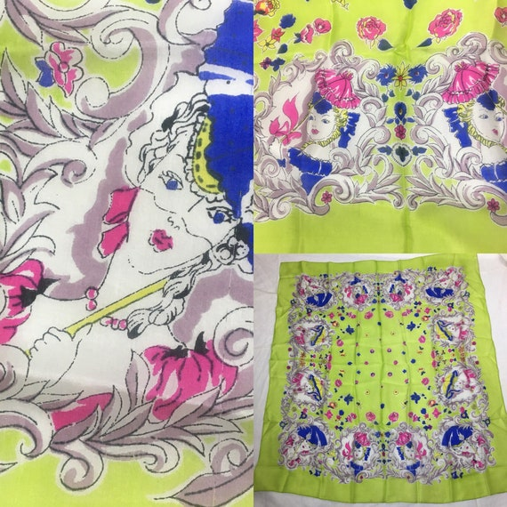 Vintage 1940s Chartreuse Blue Pink and White Silk Scarf Girl Holding Umbrella Motif