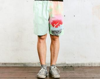 Printed Beach Shorts . Vintage Mens Surfer Shorts Striped 90s Shorts Adventure Wear Mens Summer Pants Holiday Shorts  . size XL Extra Large