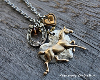 Horse Necklace, Horse Jewelry, Equestrian Jewelry, Horseshoe Necklace, Horse Lover gift