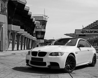 Poster Of BMW E92 M3 Left Front Black And White HRE P40 Wheels HD Print