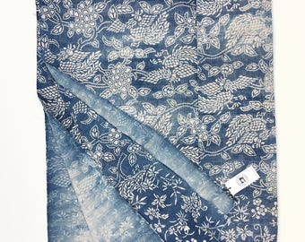 Chinese Indigo Fabric, Vintage Bedcover, Global Decor Textile, Chinoiserie style textile