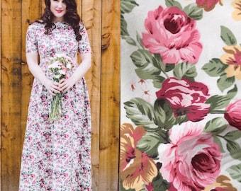 Floral dress, summer dress, flower dress, vintage style dress, maxi dress, cotton dress, garden party dress, occasion wear, bridesmaid dress