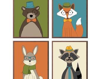 Hipster Woodland Animals set of 4, Cute Hipsters, Kids Wall Art, Rabbit, Bear, Raccoon, Fox, squirrel, deer