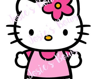 Hello Kitty Flower Cut Cut Cutting File - .SVG,  DXF, Silhouette, .Jpg and/or .Png  , Cricut, Cutter, Vinyl, HTV