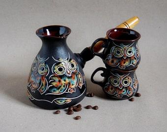 Ceramic coffee set Owl Turkish coffee pot Ceramic turk & 2 cups Unique Christmas gift Wife gift Daughter gift Birthday Wedding gift ideas