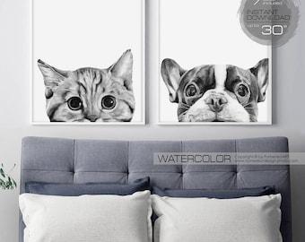 Printable wall art Watercolor painting Nursery decor Large wall art prints Dog Pet Wall decor Poster Digital download Downloadable prints