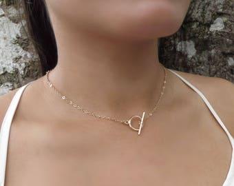 Delicate Gold Choker Necklace, Dainty Choker Necklace, Bar Choker Necklace, O Ring Gold Choker, Gold Necklace, Dainty Gold Circle Necklace
