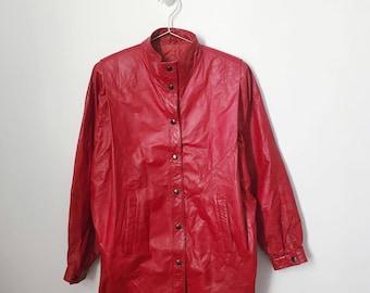 vintage 90s red leather jacket (medium/large) – free us shipping