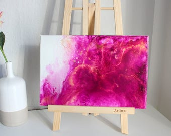 Original fluidtype acrylic painting, pink, gold on canvas