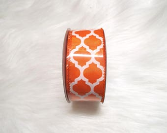 1.5X10yds-Orange quatrefoil ribbon, Orange lattice ribbon, Orange quatrefoil ribbons, Orange lattice ribbons, Orange ribbon