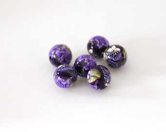 Purple Flowers, Polymer Clay Beads, Round Bead Set Mauve Roses, 6 Pieces
