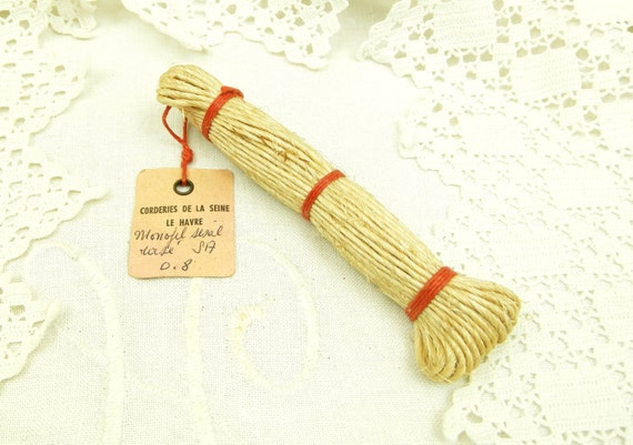 Antique French Unused Bundle of Sisal Twine Rope with Original Label, Old Unused String from France, New Old Stock Cord, Retro Craft Decor