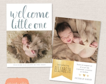 Birth announcement template - Watercolor Welcome CB015 5x7 card - INSTANT DOWNLOAD