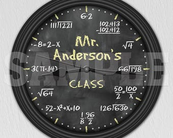 Math Equation Chalkboard Personalized Decorative Wall Clock - Teacher Gift ITEM#020