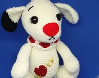 Valentine the dog crochet pattern