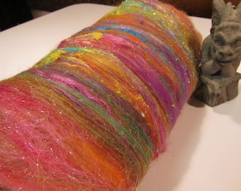 CORAL REEF 4.0 oz, Spinning fiber art batt, carded wool batt, textured bling batt, Angelina fiber, felting fiber, angelina sparkle,