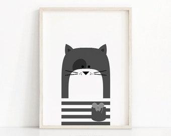 Cat Nursery Print, Printable Nursery Art, Kids Print, Instant Digital Download Print, Animal Nursery Decor, Cat Print, Printable Kids Art