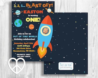 Outer Space Rocket Printable Birthday Invitation {With Photo}