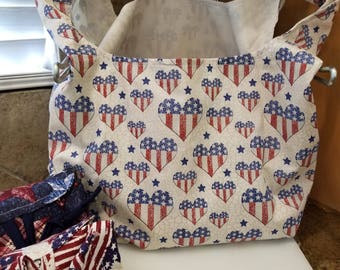 Heart Flags Grocery Tote