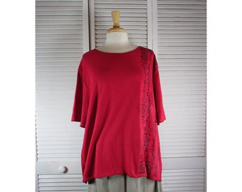 Boxy Top - Engine Red Organic Cotton Jersey Knit w/ Abstract Art  1X Ready to Ship