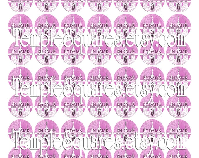 """Printable Digital Files- Stickers Labels Jewelry on 1"""" circles LDS Mutual YW Young Women 2015 Theme Embark in the Service of God Pink Temple"""