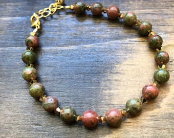"Unakite Jasper , Swarovsky Crystal & Gold Beaded Bracelet, adjustable, 6.5-7.5"", gift for women - mom - sister - wife - treat yourself"