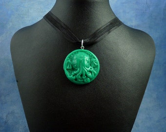 Jade Small Cthulhu Cameo Necklace, Polymer Clay Horror Jewelry