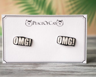 omg , oh my god , funny gift , funny jewelry , quirky jewelry , teen jewelry , quirky earrings , tween gift