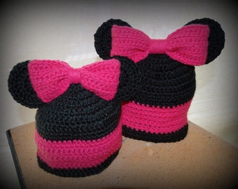 Mickey or Minnie Mouse Baby Hats