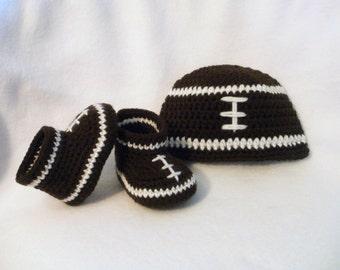 Crochet Baby Booties Football Baby Booties and Hat Set Crochet Football Booties and Hat Football Booties Brown and White Football Hat