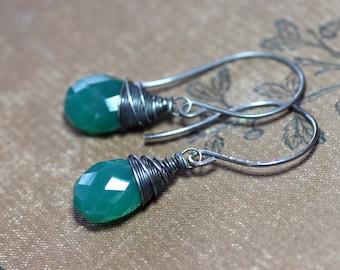 Green Onyx Earrings Faceted Green Gemstone Briolette Antiqued Silver Earrings