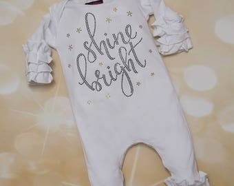 Shine Bright in Black and Gold Rhinestones Infant Ruffled Layette Cotton Baby Romper with with Matching Headband