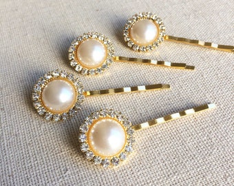 Gold Bridal Pearl Crystal Hairpins 4 pc - gold hairpin, bridal hair pin, gold, pearl hairpin, gold hair accessory, GOLD