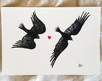 Happily Ever After - birds Valentine's art print