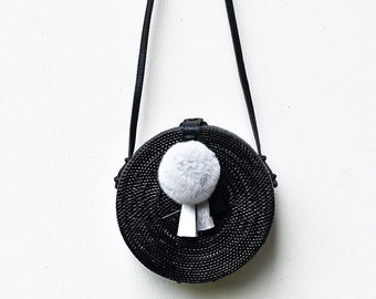 Round Rattan Bag Black Crossbody Personalized Leather POM-POM Silk Tassels Soft Fur Lush Customised  Travel Holiday Luxury Ata Brown Ribbon