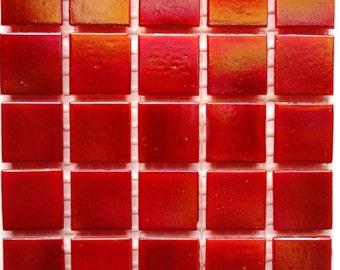 20mm Fire Red Iridescent Vitreous Glass Mosaic Tiles// Craft Supplies//Mosaic Supplies