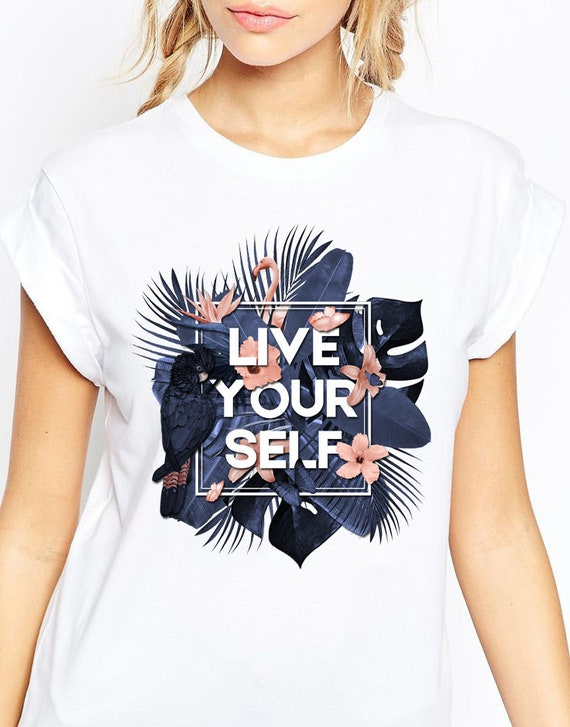 Live Your Self | Unisex T-Shirt | Tropical leaves | Parrots and butterflies | Motivational design | ZuskaArt