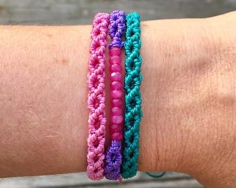 Pink Jeweled Bracelet Stack. Micro-Macrame Bracelets. Modern Macrame. Adjustable Beaded Bracelets. Statement Jewelry. Friendship Bracelet.