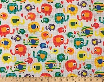 White Elephants - 1 Yard Cut - TT Fabrics - Cotton Fabric - Quilting Fabric - Elephant Fabric