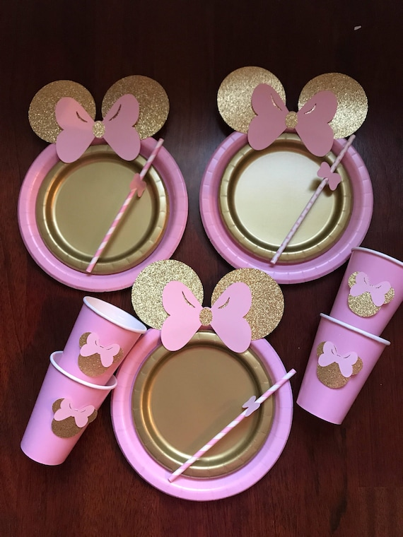 & 10 Light Pink Gold Glitter Minnie Mouse Birthday Table set