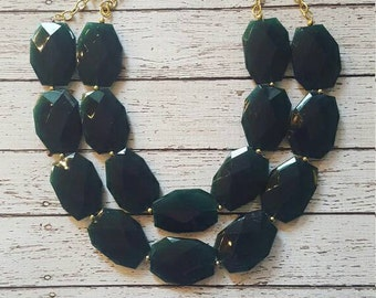 Emerald Green Chunky Statement Bib Necklace...Purchase 3 or more get 10% off