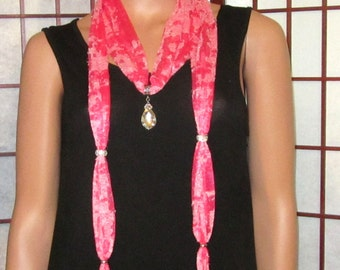 Scarf Necklace Multi Pink Rhinestones Beads and Tassels Ends