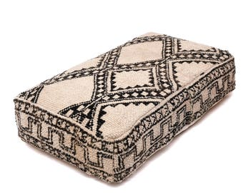 Moroccan Pouf, Floor Cushion, Beni Ourain Pouf Ottoman, Floor Pillow, Foot Stool, Refashioned from a Vintage Berber Rug. PVA013