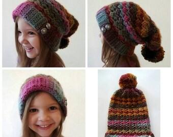 Crochet Half Shell Slouchy Hat, crochet women's slouchy hat, winter slouchy hat, colorful slouchy hat, crochet winter slouchy hat,