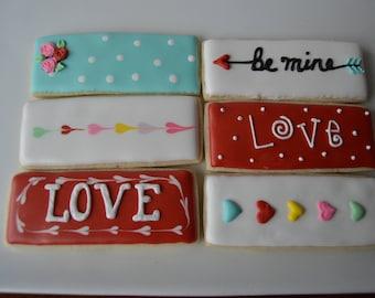 Valentines Tiles- 12 cookies