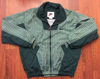 Vintage 90s Nike Full Zip Up Windbreaker Jacket Size Large Green White