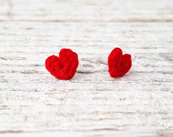 Red Heart Earrings / Romantic Gift for Her / I Love You Gift / Minimal Romantic Earrings / Crochet Heart Studs / Red Love Jewelry /