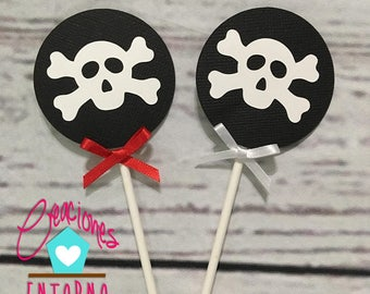 12, 18, 24 Cupcake Toppers, Birthday Cupcake Toppers, Prate Cupcake Toppers, Skull Cupcake Toppers
