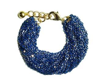 Multi Strand Chic Statement Chain Bracelet - Blue